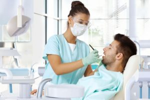 The patient is unconscious during dental treatment.