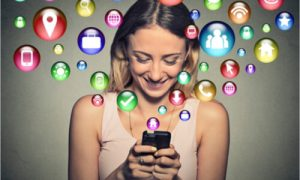 woman addicted to social media